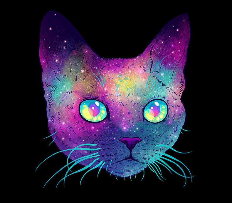Gatos galácticos: Ilustraciones psicodélicas combinan a los gatos con el espacio