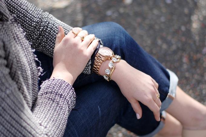 Michael Kors Runway Watch and Stella & Dot rhinestone bracelet Covet and Acquire