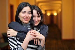 Echecs à Jermuk : l'Arménienne Lilit Mkrtchian (2450) et l'Ukrainienne Kateryna Lahno (2537) - Photo © site officiel