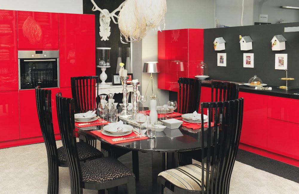 Cocinas integrales modernas en rojo y negro colores en casa - Cocinas pintadas fotos ...