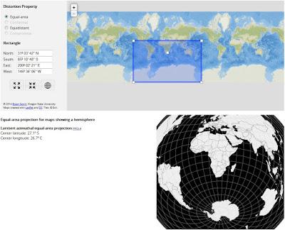 Projeção destacando mais o hemisfério sul da Terra