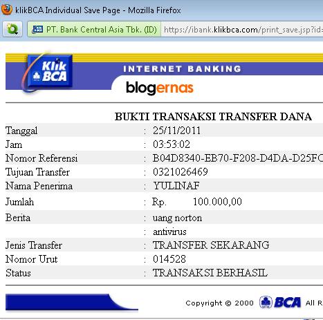 Cara Mengirim/Transfer Uang dengan Klik BCA Online di Internet
