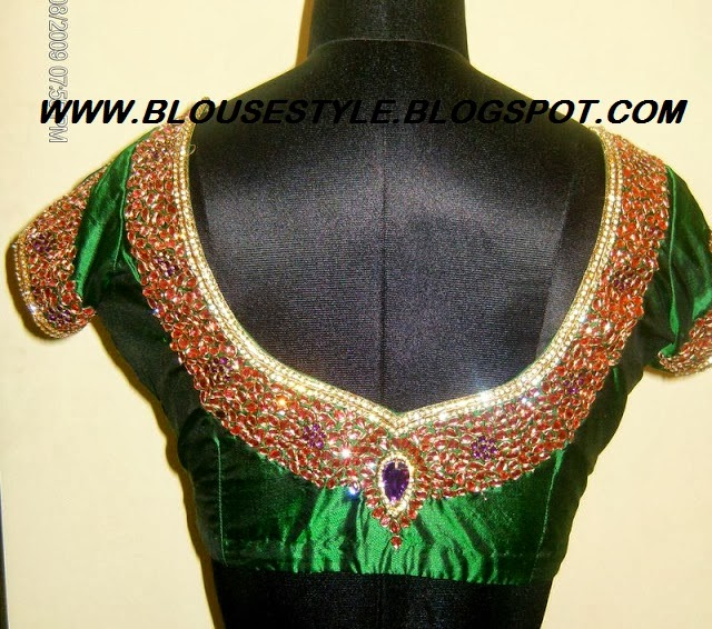 GREEN DESIGNER BACK BLOUSE