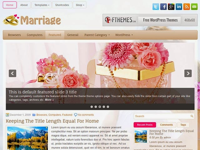 Marriage - Free Wordpress Theme