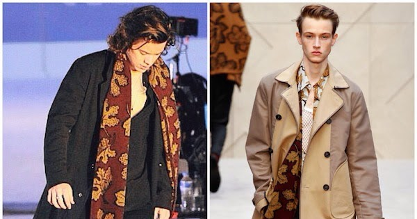 Harry Styles Natural Hair: What's He Wearing?: Harry Styles's Burberry Prorsum Leaves
