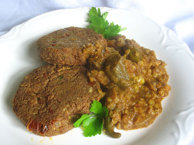 red lentil orka stew with teff cakes