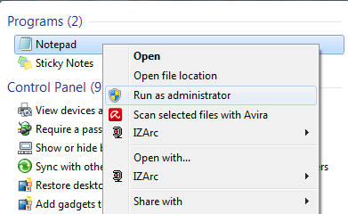 step 1 : open notepad as administrator
