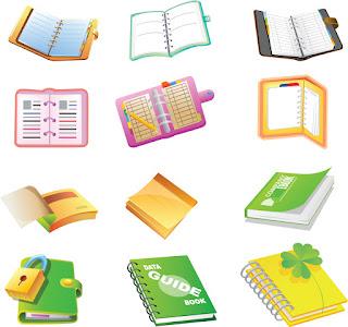 ノートやメモ帳のアイコン School supplies cartoon icon イラスト素材