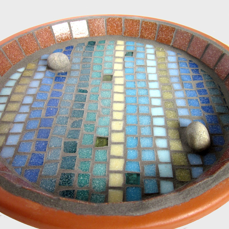Linear Shoreline Mosaic Garden Bird Bath title=