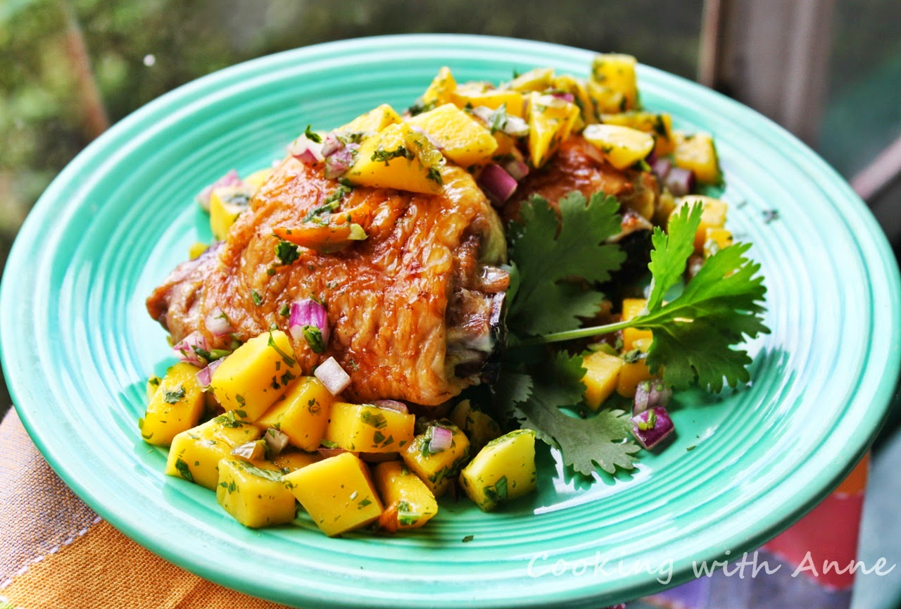 Chicken Thighs with Mango Jalapeño Salsa