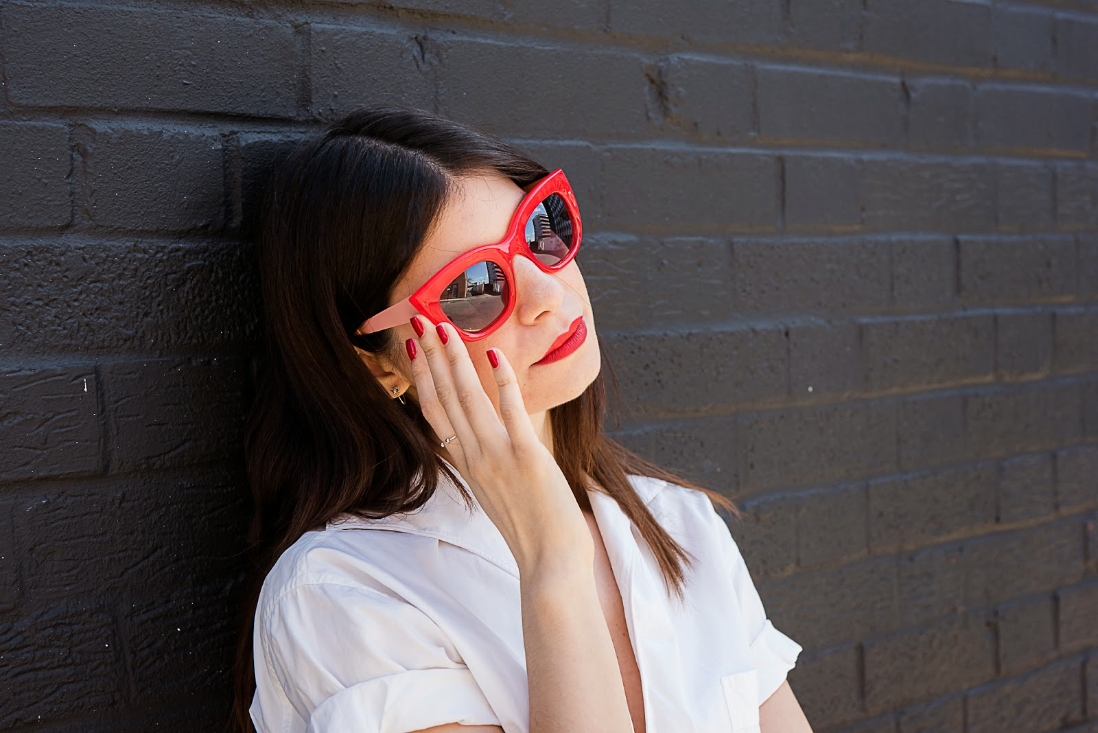 red shades, sunglasses, zara, cat eye, oversized, star hoop earrings, z for accessorize, zara simon, red lips, revlon, fire and ice, barry m, red nails, blood orange
