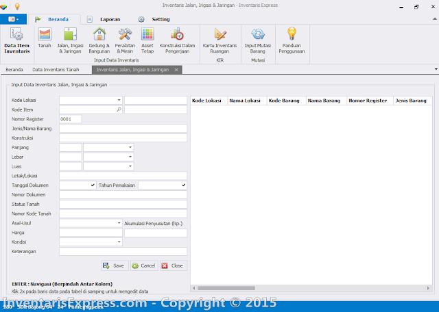 Input Data Inventaris Jalan, Irigasi dan Jaringan (KIB B) - Software Inentaris Express