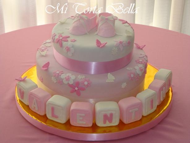 Torta de Bautismo / Baby Shower - Flores y Mariposas