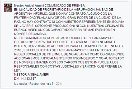 Comunicado de prensa de Nestor Ameri para morenada Plana Mayor