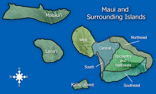Map of Maui county, including outer islands