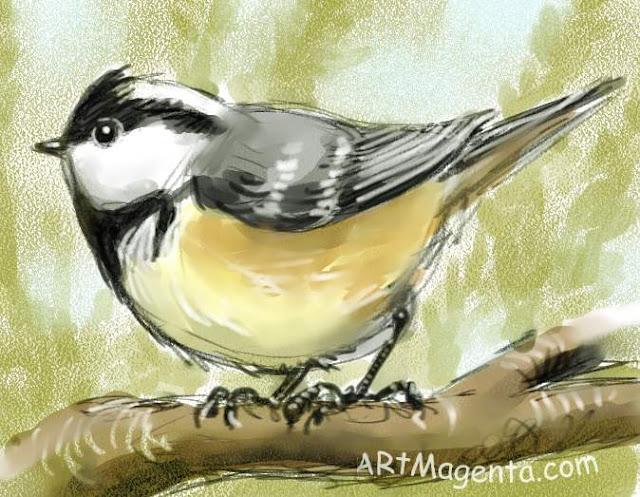 Svartmes är en fågelmålning av  Artmagenta.