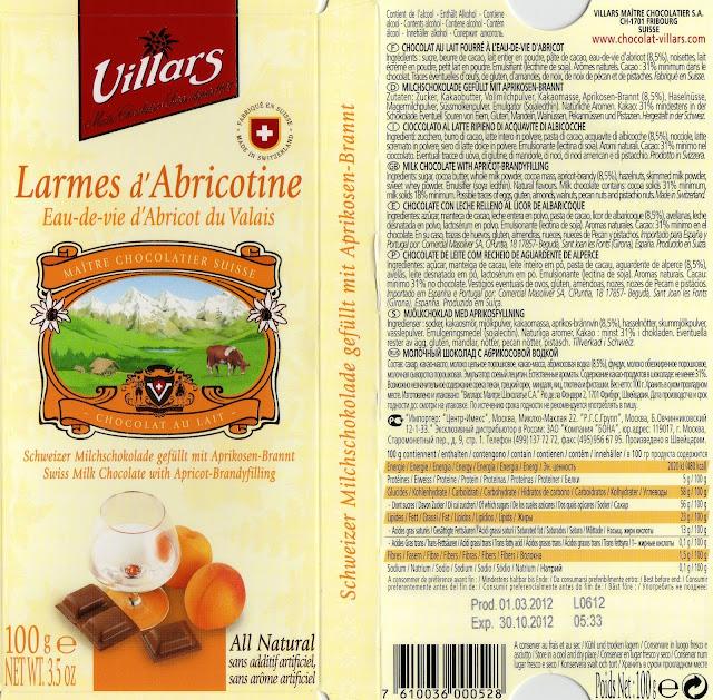 tablette de chocolat lait fourré villars lait larmes d'abricotine