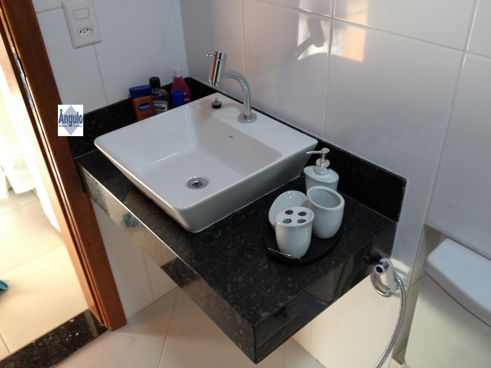 Ângulo Mármores e Granitos Banheiros -> Pia De Banheiro Granito Verde Ubatuba