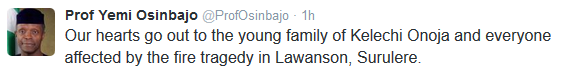 Osinbajo sends message to 7 dead family member in Lawanson fire.