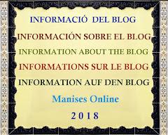 INFORMACIÓN SOBRE LA TITU- LARIDAD DEL PRESENTE BLOG DE MANISES ONLINE 2018