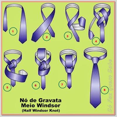 Passo-a-passo de como fazer o nó de gravata meio windsor ou windsor simples.