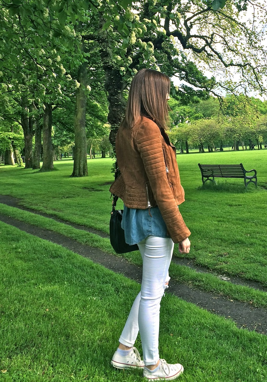 Topshop Jamie Jeans and Allsaints tan leather biker from Steph About Town