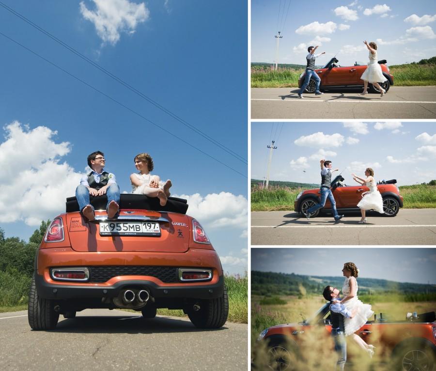 Novios en coche