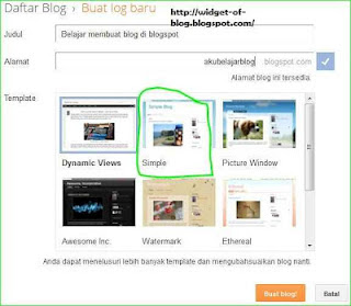 menulis nama blog, isi artikel dan memilih template blogspot