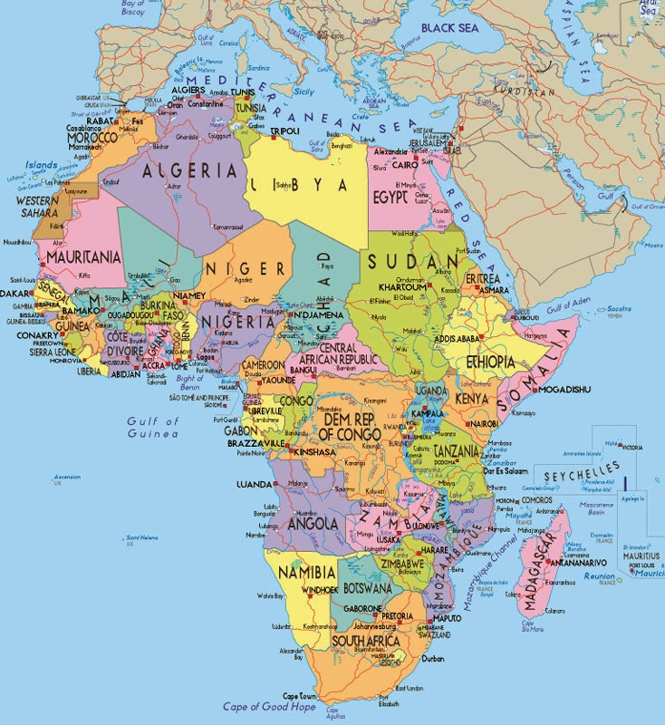 Detailed South Africa In The African Continent Map Locations Map - South africa map