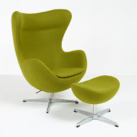 Egg Chair Reproduction in Green Fabric
