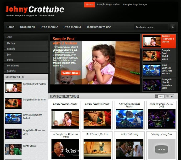 Johny Jazztube - SEO Blogger Template for Video