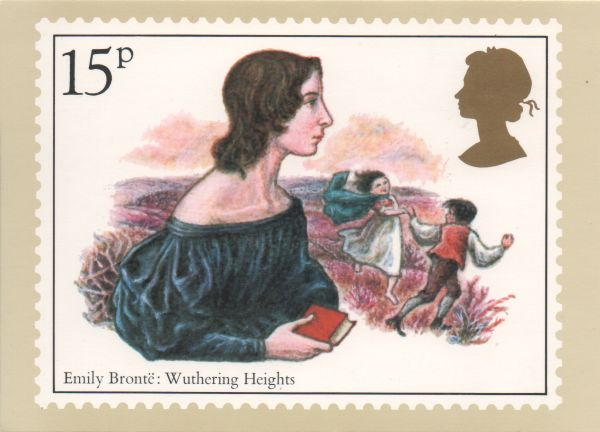 stamp card showing emily Brontë  and a scene from Wuthering Heights