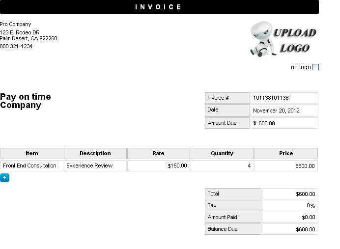 Blank Invoice Template  Make An Invoice Online