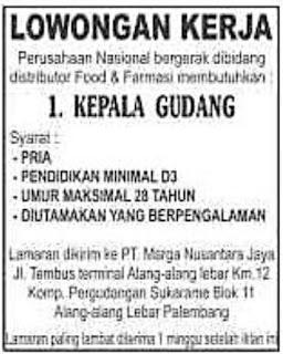 Lowongan Kerja Kepala Gudang PT. Marga Nusantara Jaya