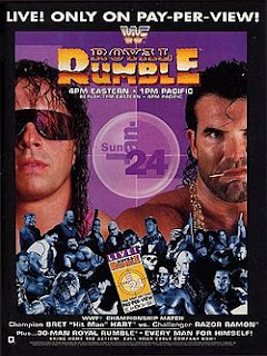 WWF/WWE ROYAL RUMBLE 1993 - The event poster (notice stars such as Ultimate Warrior, British Bulldog and Crush appearing on the poster but not at the event)