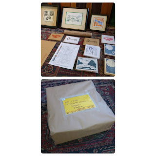 selection of Hand Press Print items, and a picture of the huge box wrapped for the post office