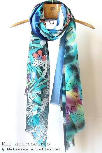 Soldes Foulard coton imprimé Mii Coloriage