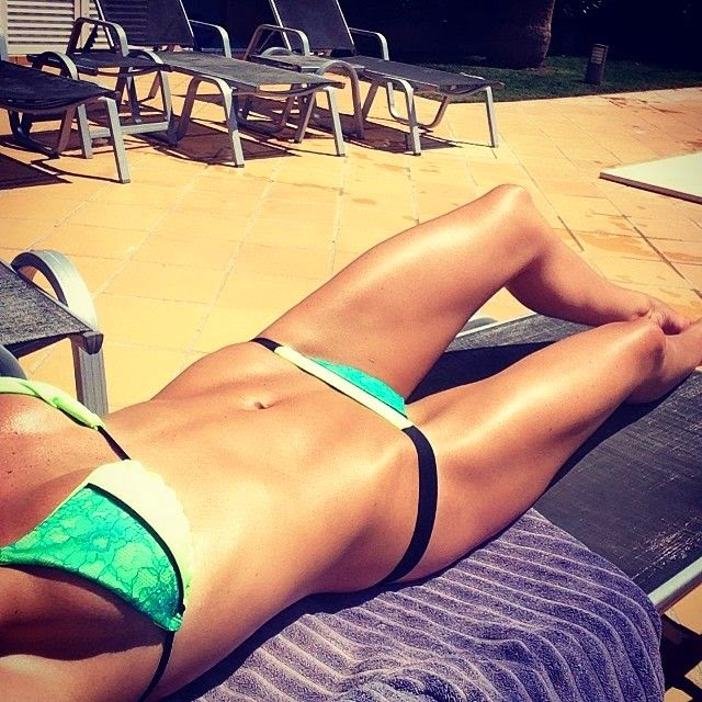 "Danielle Lloyd uploads this pictures during sunbathing session at her home,‭ ‬Surrey England on Saturday,‭ ‬May‭ ‬20,‭ ‬2014‭ ‬and wrote:‭ ""‬to all my follower.‭"""