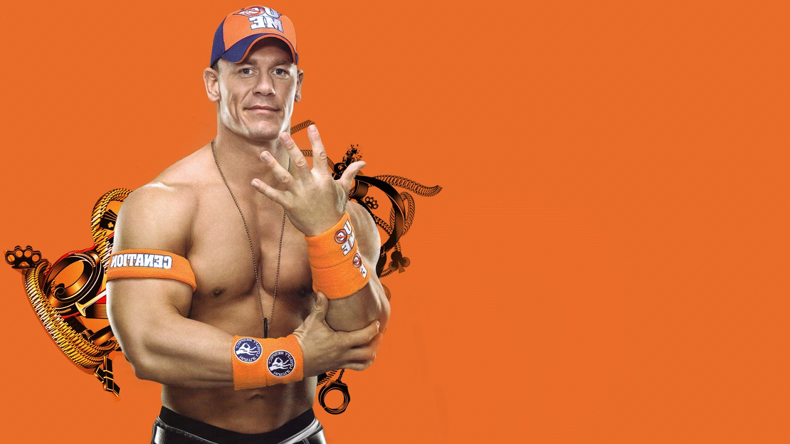 WWE Superstar John Cena in you Cant See Me pose Wallpaper