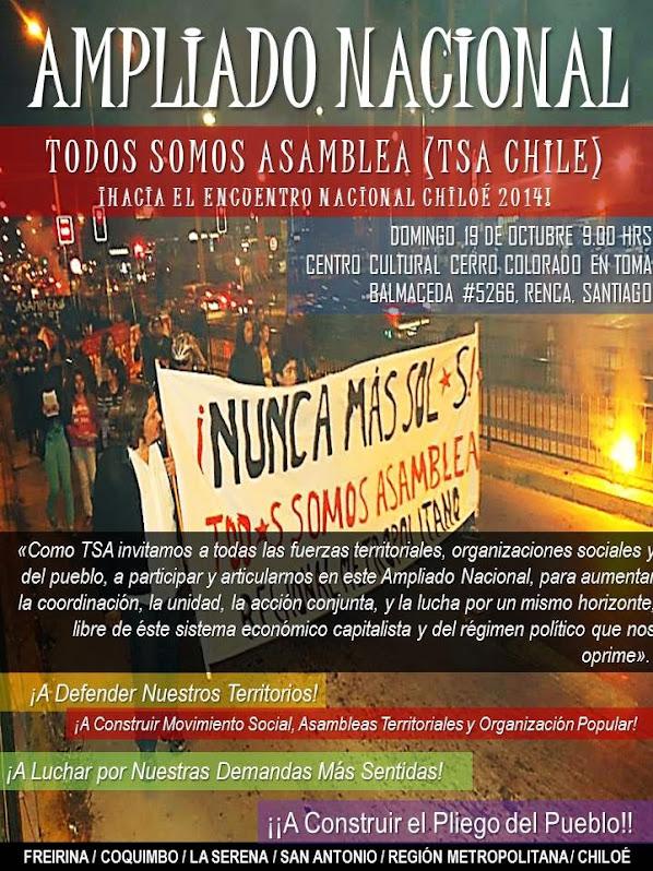 RENCA: AMPLIADO NACIONAL TODOS SOMOS ASAMBLEA, HACIA EL ENCUENTRO NACIONAL CHILOE 2014