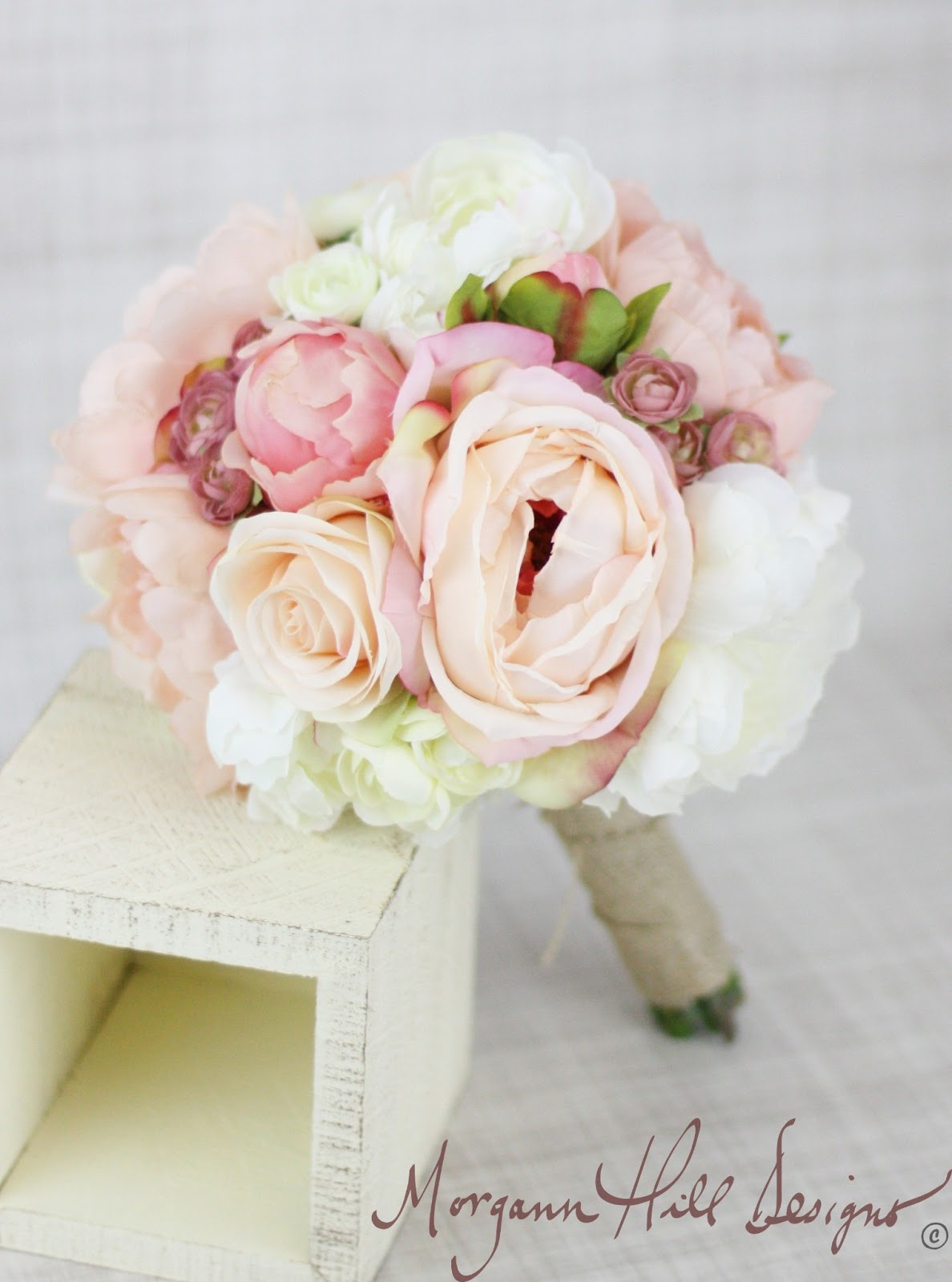 Morgann Hill Designs Silk Bridesmaid Bouquet Peony Peonies Roses Ranunculus Country Wedding