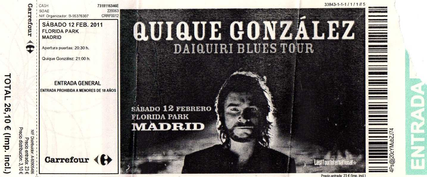 Quique gonz lez 2011 florida park madrid for Quique gonzalez madrid