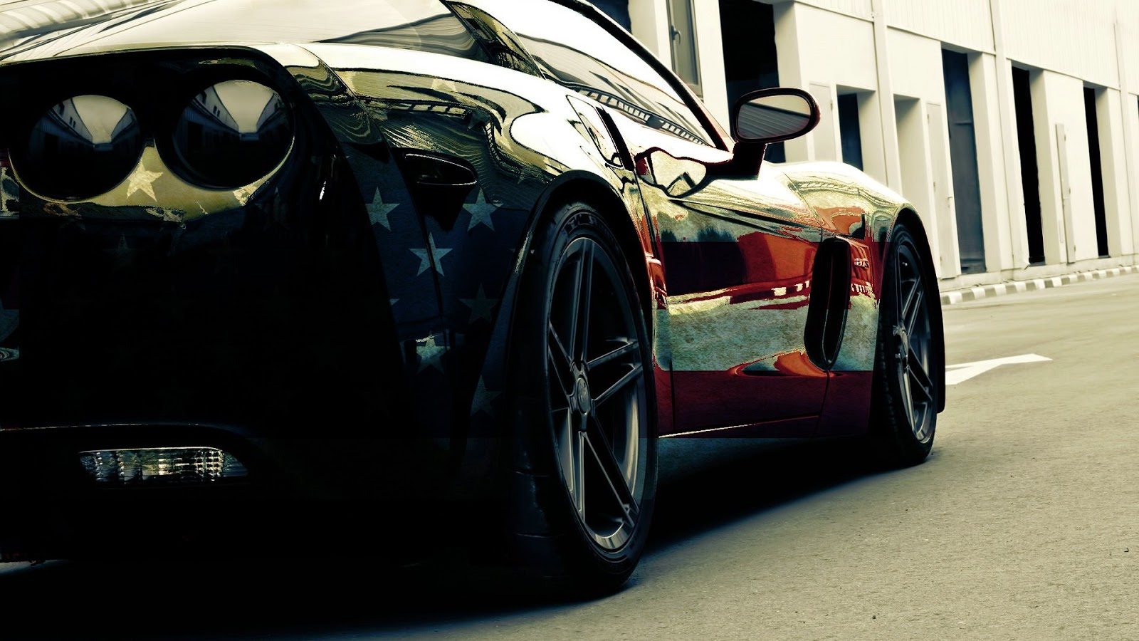 American Flag Corvette Car