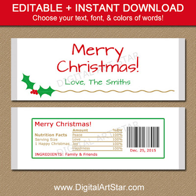 Gold holiday candy bar labels with editable text