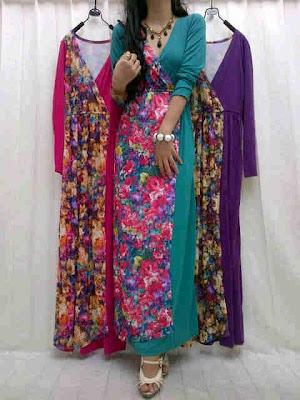 Maxi Dress Polos Kombinasi Bunga Kode 270139