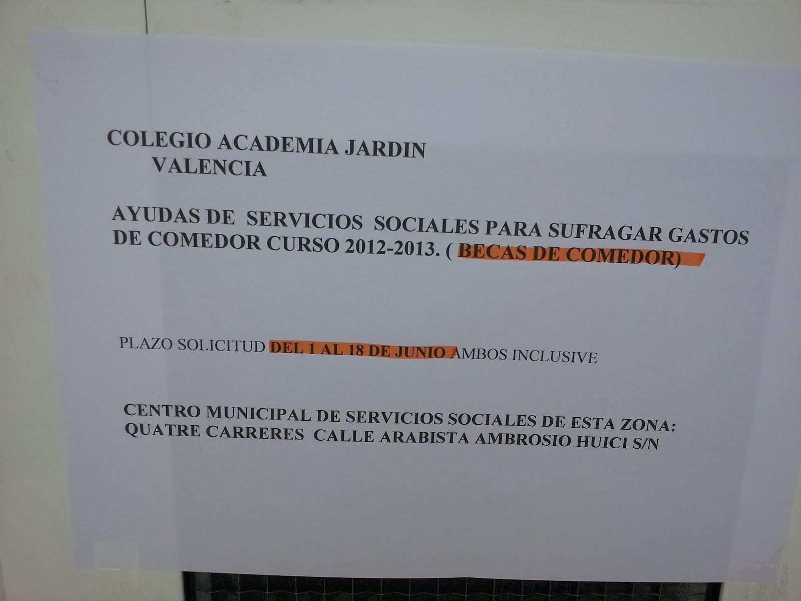 APA COLEGIO ACADEMIA JARDIN: convocatoria de Ayudas de Comedor ...
