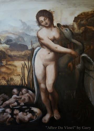 Leda and the Swan design by Da Vinci - student copy