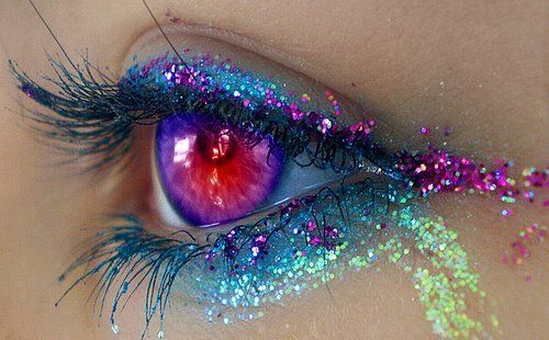 Blue Pink Glittery Eye Makeup