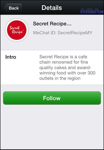 akaun wechat secret recipe malaysia