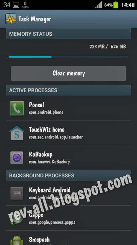 Tampilan utama Task Manager - aplikasi pengatur proses untuk android berukuran kecil (rev-all.blogspot.com)